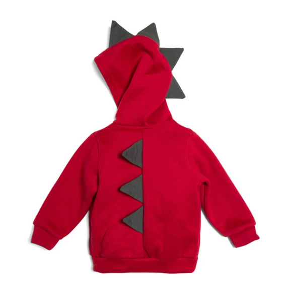 Red & Charcoal Zip Up Dino Hoodie Sweatshirt