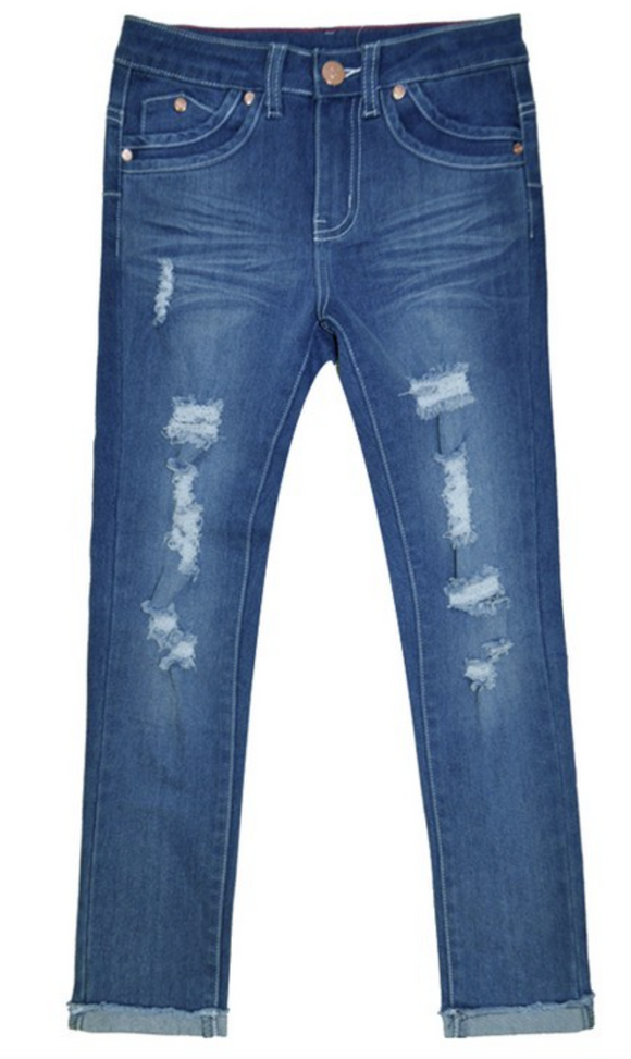 Girl's Distressed Jeans w / Double Tapping Pocket Detail - Indigo