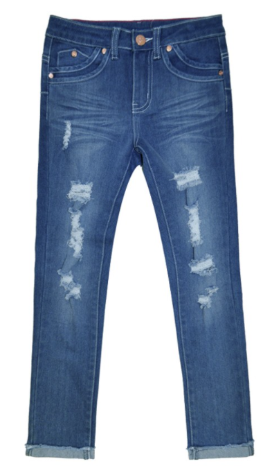 Toddler Distressed Jeans w / Double Tapping Pocket Detail - Indigo