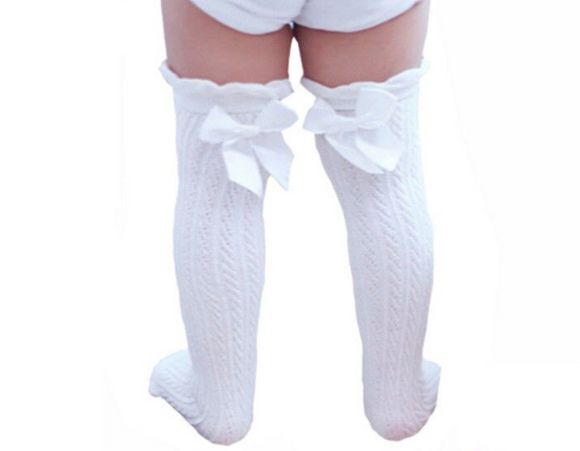 White Knee-High Socks with Bows