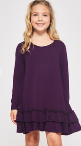 Girls Tiered Ruffle Dress - Eggplant