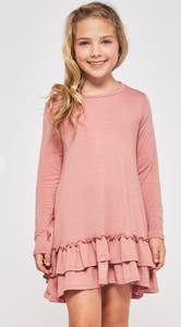 Girls Tiered Ruffle Dress - Mauve