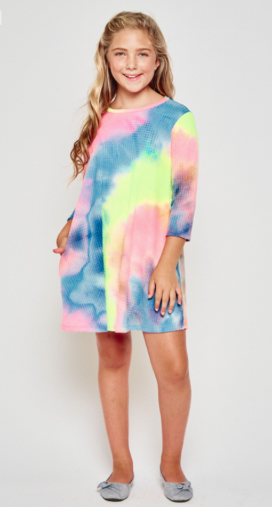 Girls Waffle Tiedye swing dress