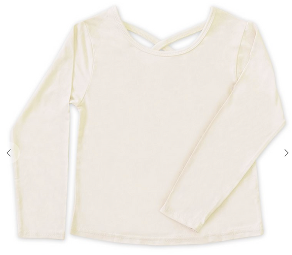 Girl's Soft Knit LongSleeve Tee w/Back Cross Tapping - Cream