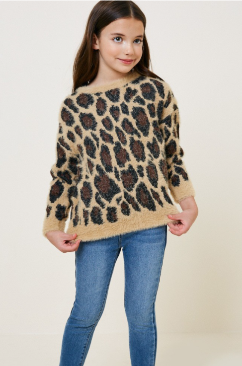 Leopard Mohair Pullover Sweater Top - Tan