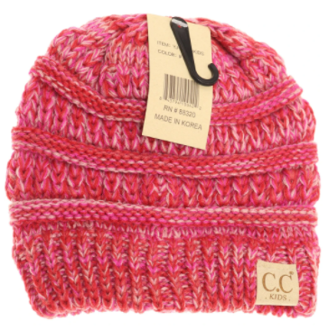 Kids Four-Tone CC Beanies - Hot Pink
