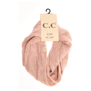 KIDS Solid Cable Knit CC Infinity Scarf- Indi Pink