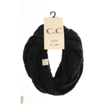 KIDS Solid Cable Knit CC Infinity Scarf- Black