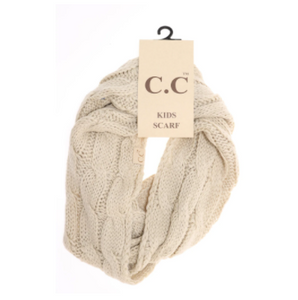 KIDS Solid Cable Knit CC Infinity Scarf- Beige