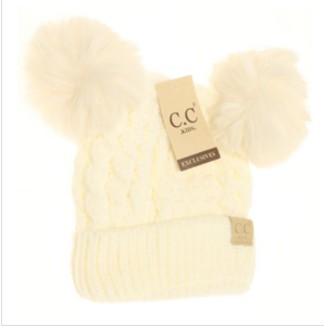 KIDS Cable Knit Double Matching Pom Beanie- Ivory