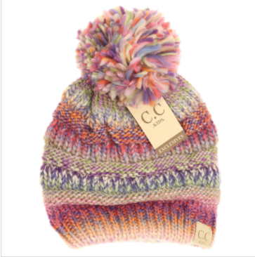 Kids Multi Color Cable Knit Pom CC Beanie- Rose Multi