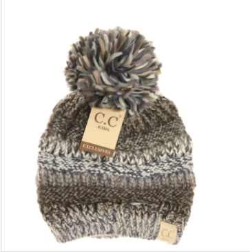 Multi Color Cable Knit Pom CC Beanie- Black/Grey