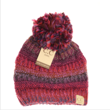 Kids Multi Color Cable Knit Pom CC Beanie- Burgundy