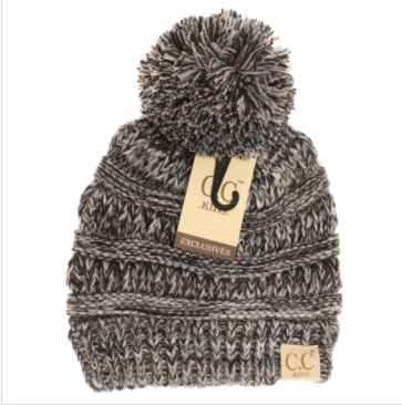Kids Four-Tone Pom CC Beanies- Grey