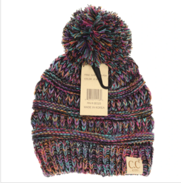 Kids Four-Tone Pom CC Beanies- Black Multi