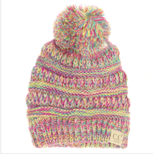 Kids Four-Tone Pom CC Beanies- Multi
