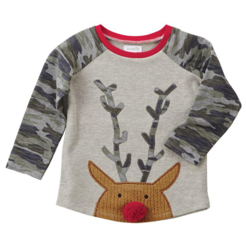 Mud Pie Reindeer Camo Christmas Tee