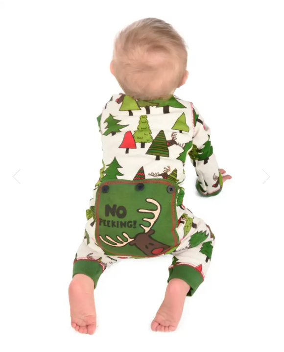 Lazy One No Peeking! Infant Reindeer Onesie Flapjack