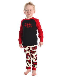 Lazy One Allover Bear Check Kid PJ Set