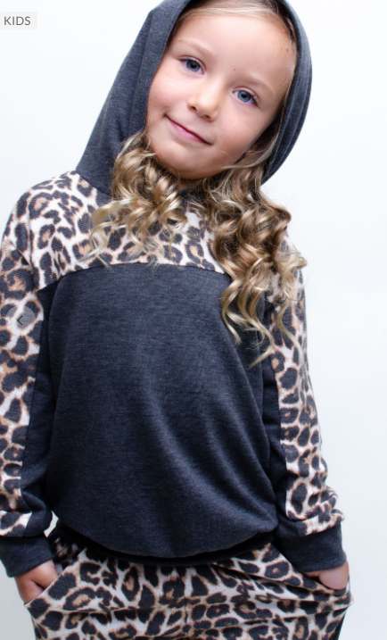 Cozy Leopard and Black Sweatshirt and Jogger Set