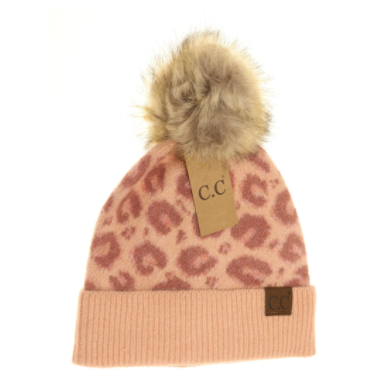 Adult Leopard Pattern Faux Fur Pom- Blush Pink