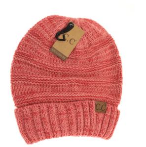 Adult Tri-Color Slouchy CC Beanie- Dark Rose