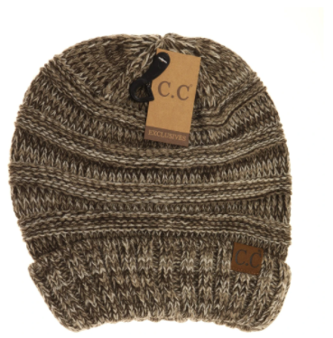 Adult Tri-Color Slouchy CC Beanie- Brown