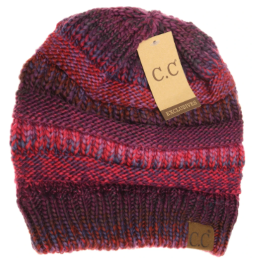 Adult Multi Color Cable Knit CC Beanie- Burgundy Mix