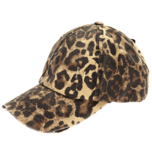 Adult Washed Denim Criss-Cross High Ponytail CC Ball Cap- Leopard