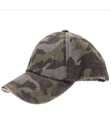 Adult Washed Denim Criss-Cross High Ponytail CC Ball Cap- Grey Camo