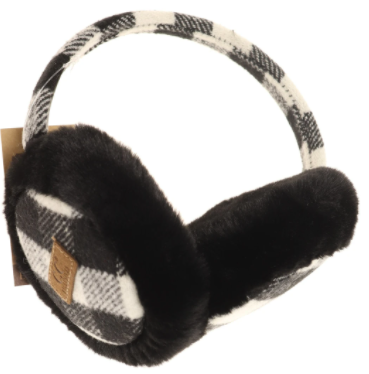 Adult Buffalo Check Pattern CC Earmuff- Black/Ivory