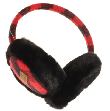 Adult Buffalo Check Pattern CC Earmuff- Red/Black