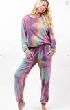 Women's Cozy Tie Dye Sweatshirt and Jogger Set - Purple/Jade
