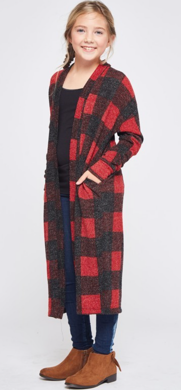 GIRLS BUFFALO PLAID LONG LINE CARDIGAN