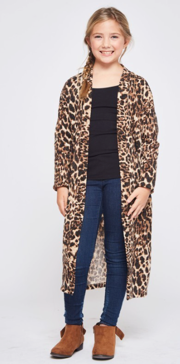 Long Line Sweater Cardigan - Leopard