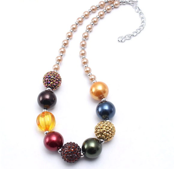 Bubblegum Pearl Necklace - Navy/Yellow/Brown
