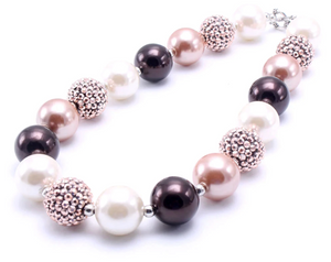 Bubblegum Pearl Necklace - Gold and Brown