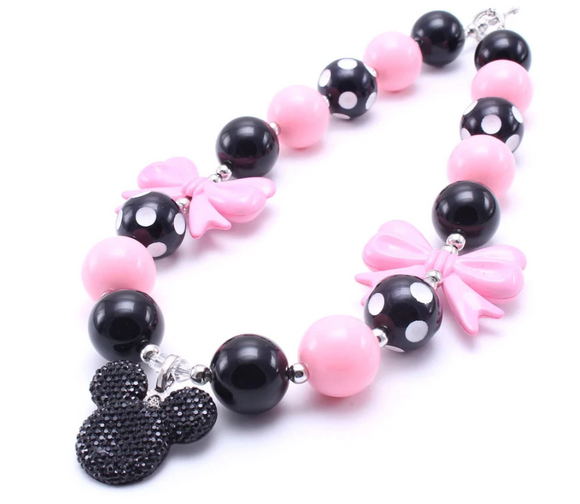 Bubblegum Pearl Necklace - Minnie Mouse