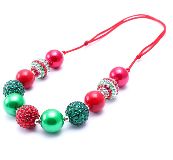 Bubblegum Pearl Necklace - Christmas Red and Green 2