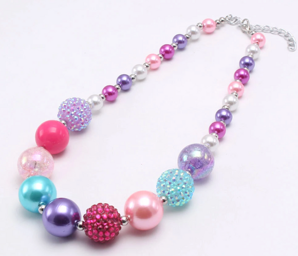 Bubblegum Pearl Necklace - Pastel Purple/Pink/Teal