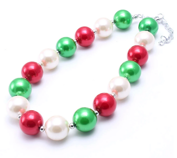 Bubblegum Pearl Necklace - Red/GreenWhite