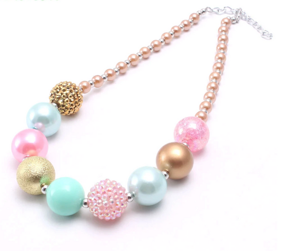Bubblegum Pearl Necklace - Pastel Pink/Blue/Gold