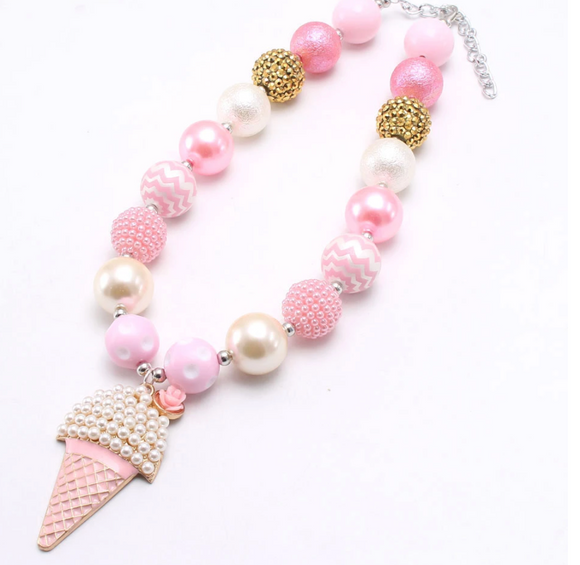 Bubblegum Pearl Necklace - Ice Cream Cone