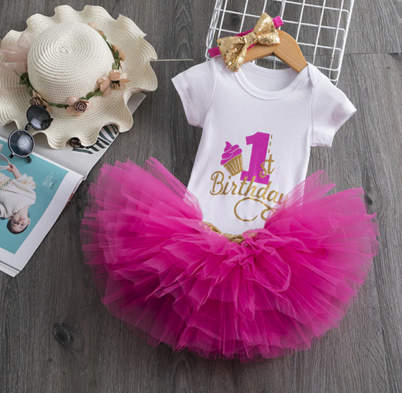 1st Birthday Hot Pink Onesie and Tutu