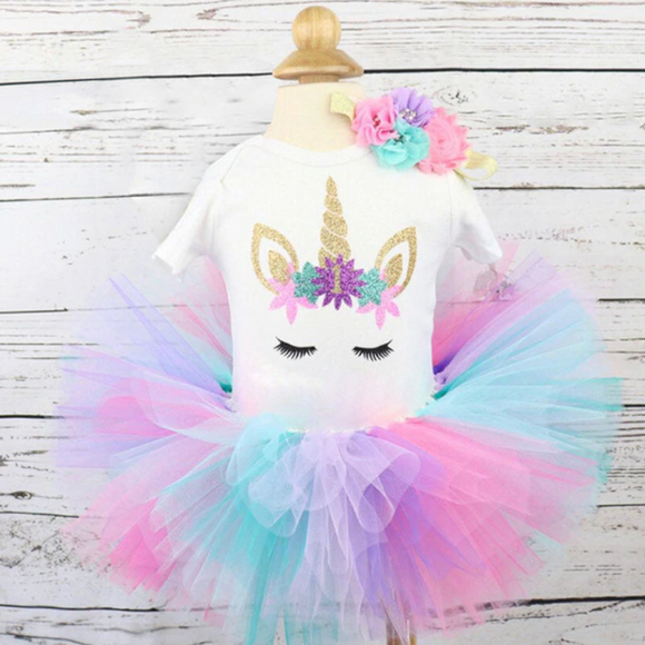 1st Birthday Unicorn Onesie and RainbowTutu