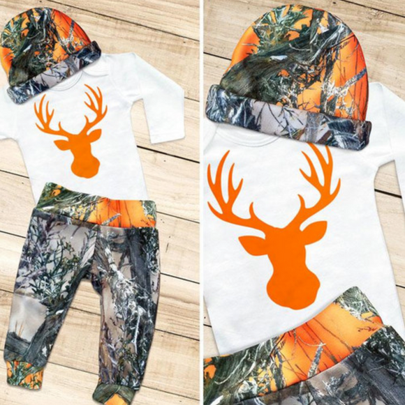 Orange Deer Camouflage Pant & Hat Set
