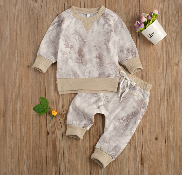 Taupe Tie Dye Jogger and Pullover Set
