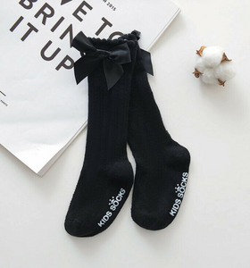 Knee High Socks with Bows - Black