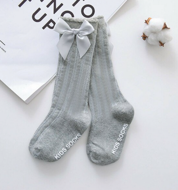 Knee High Socks with Bows - Gray