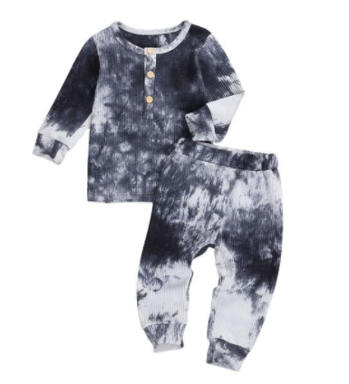 Black Tie Dye Ribbed Set